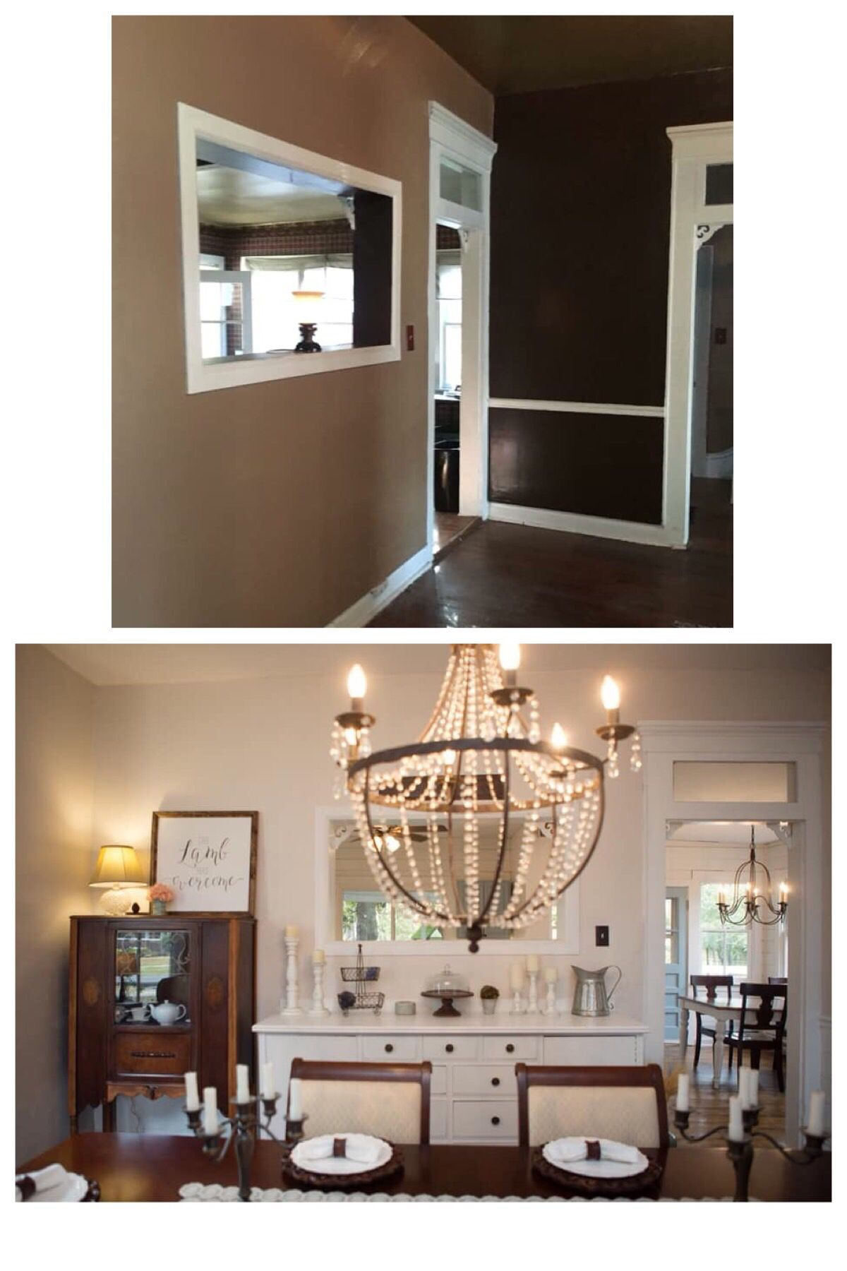 Added A Large Built In Sideboard And Pottery Barn Chandelier Refinished Floors Primer Paint On Ceilings Walls Trim