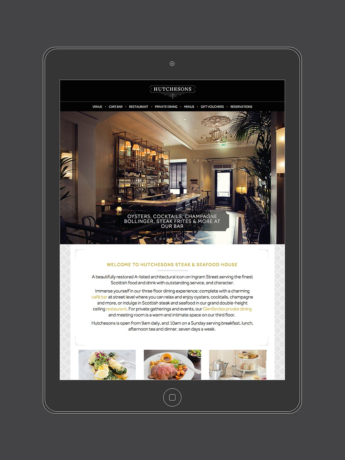 Hutchesons Bar and Restaurant branding and website