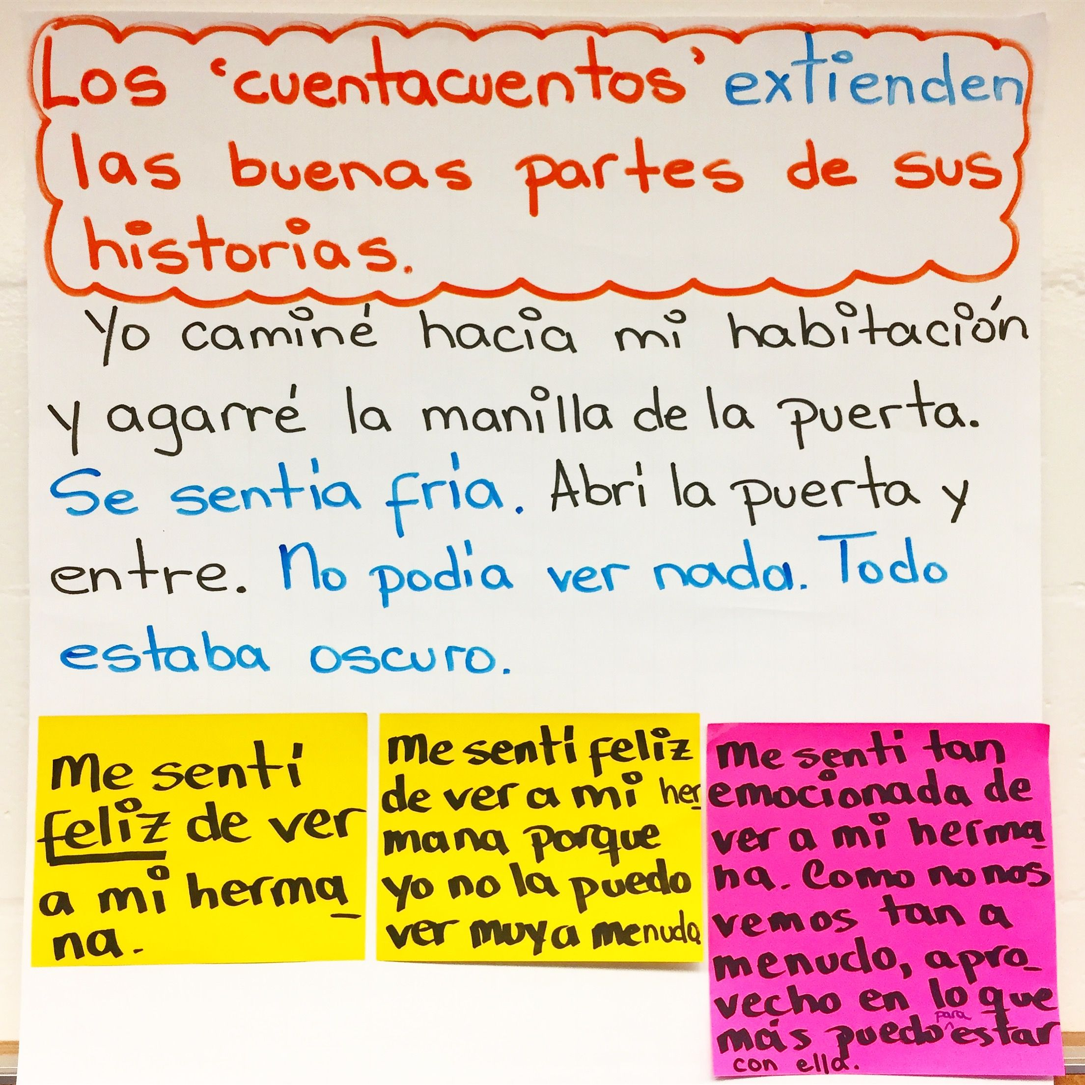 Extending the heart of our stories/Extendiendo los corazones de nuestras historias o cuentos. (entre is missing the accent in this pic - should be entré).