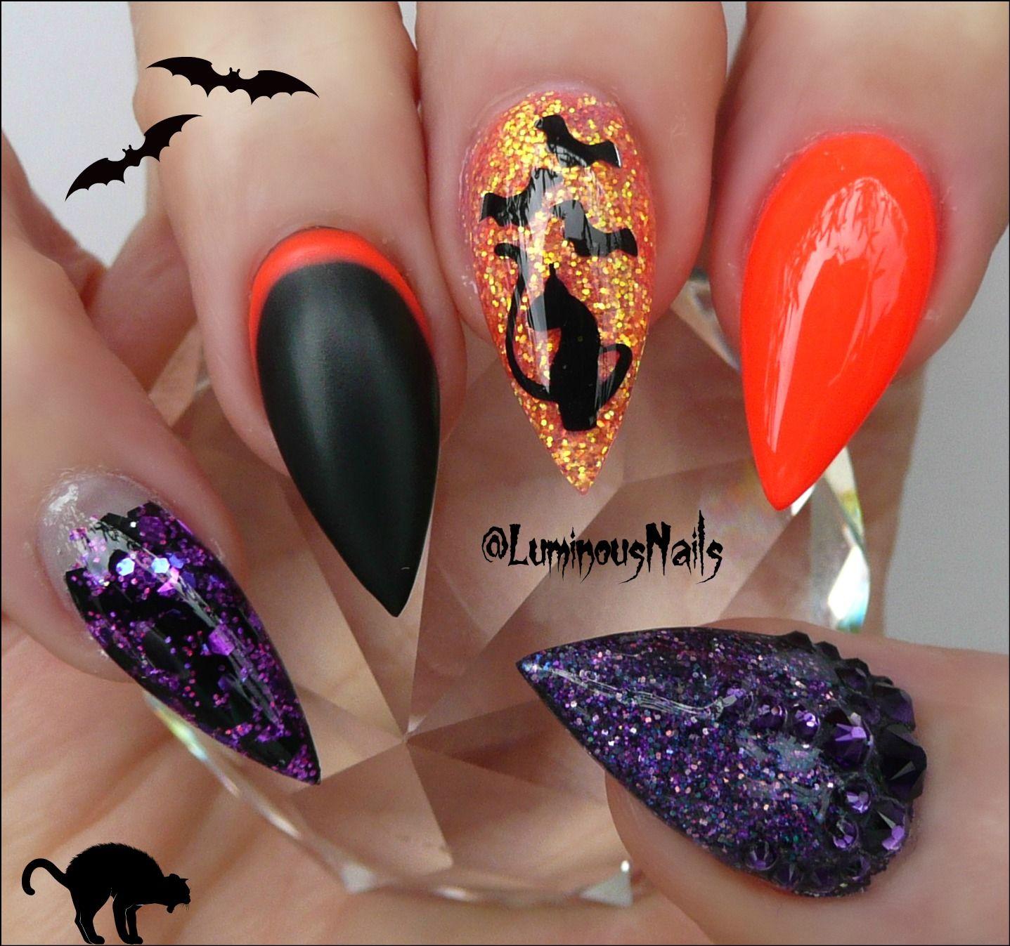 Black Cats & Black Bats! Halloween Acrylic Nails... | Luminous Nails ...