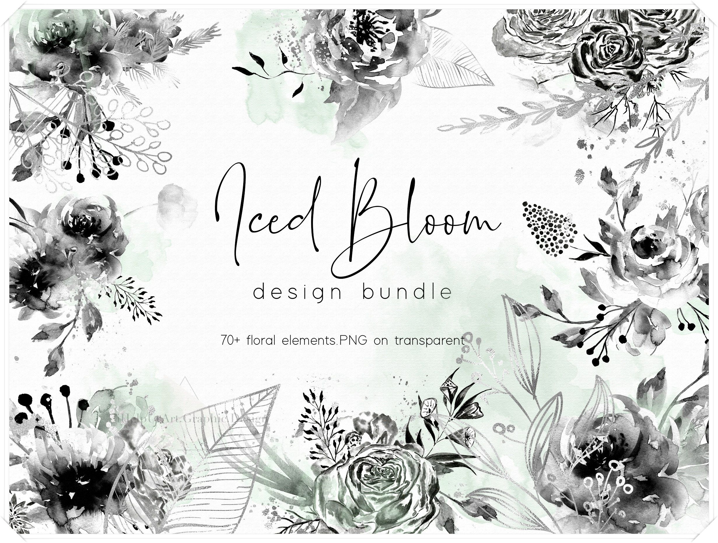 Watercolor Floral Design Bundle Boho Flowers Clipart Silver