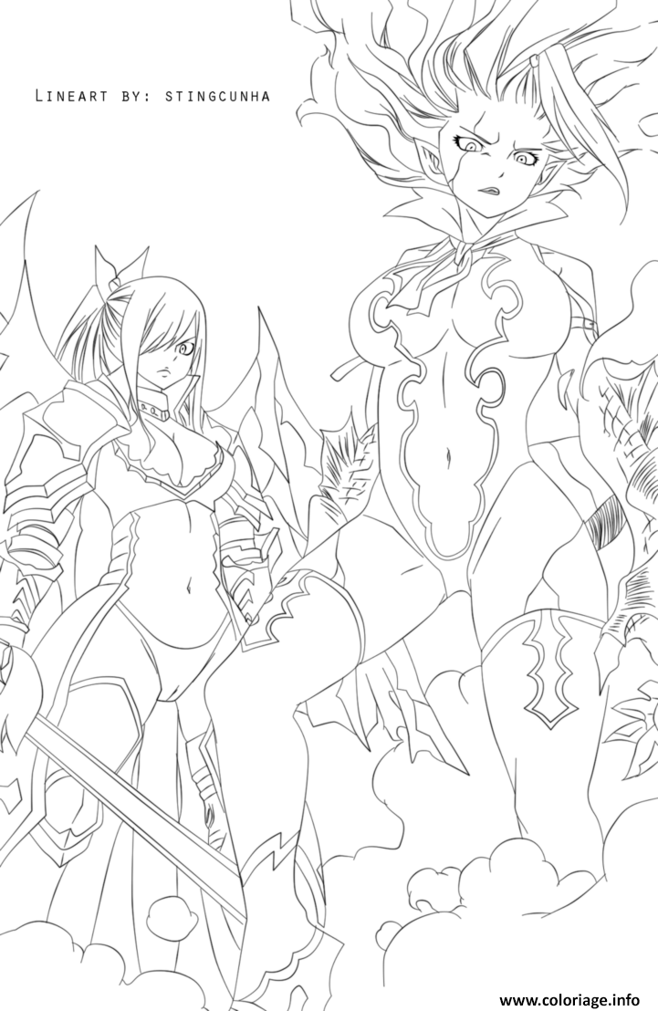 Coloriage Fairy Tail Mirajane And Erza A Imprimer Sketches