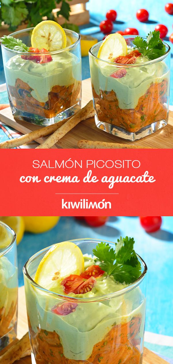 Salm n picosito con crema de aguacate receta en 2019 - Coctel de marisco con aguacate ...