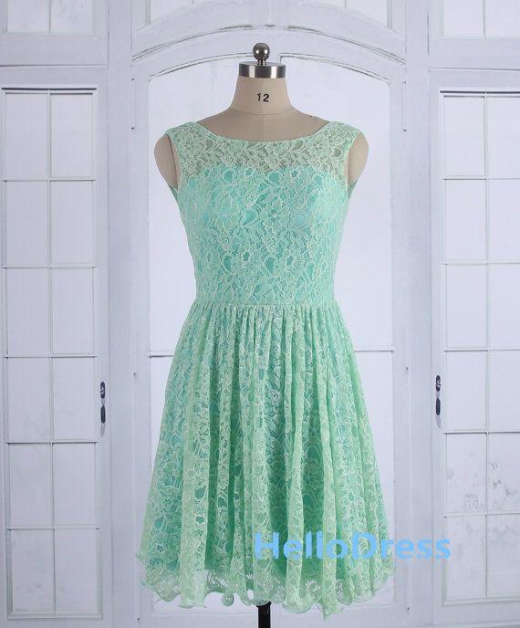Short Mint Lace Prom Dress