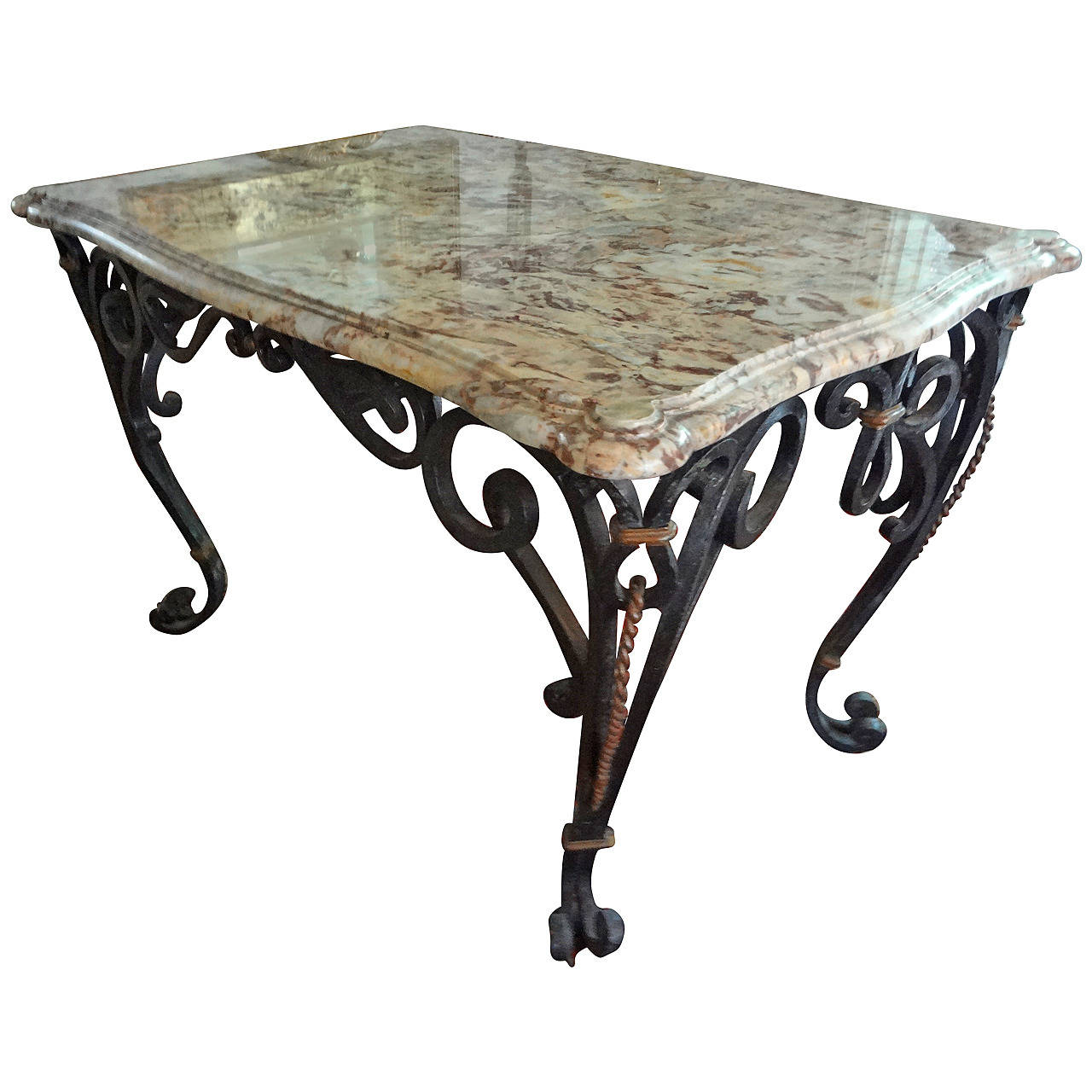 Gilbert Poillerat Inspired French Wrought Iron Center Table With