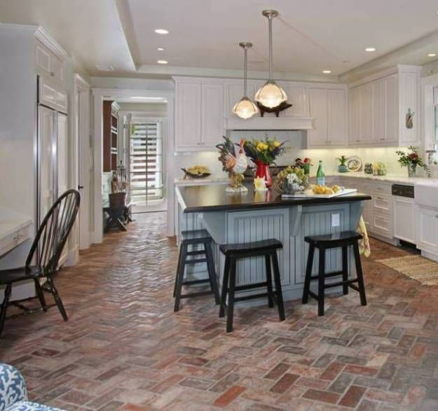 Brick pavers flooring kitchen kitchens floors for Plastic kitchen flooring
