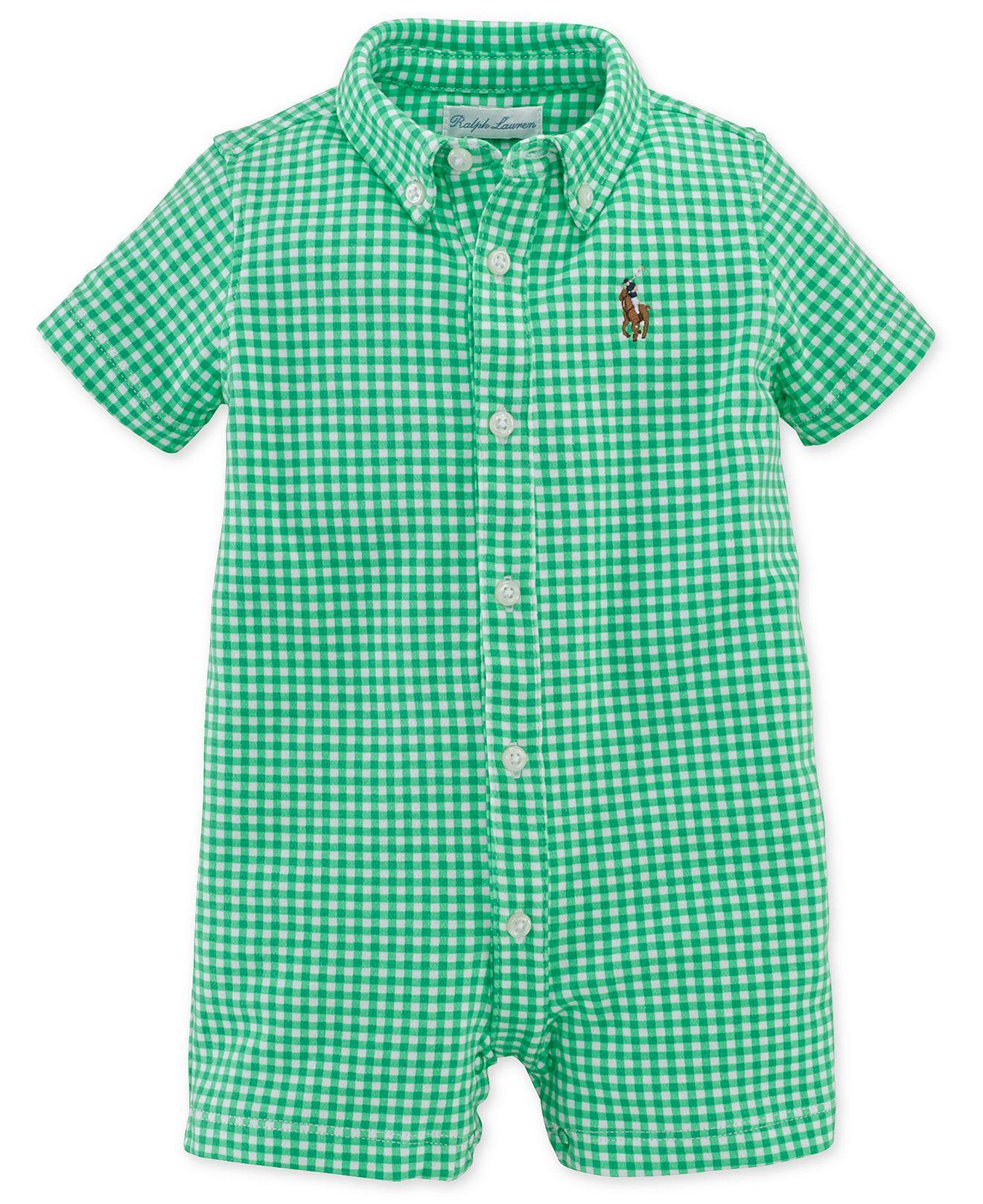 72322021961 Ralph Lauren Baby Boys  Gingham Shortall - Kids Baby Boy (0-24 months) -  Macy s