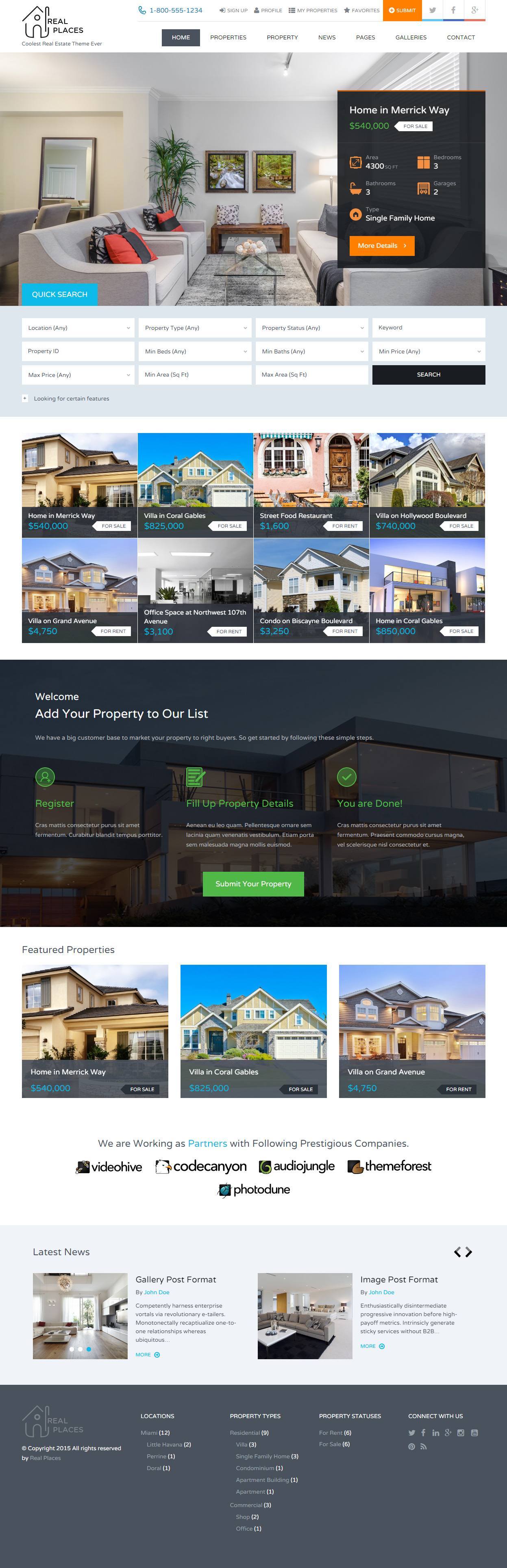 Real Estate Template%0A Real Places is Premium Responsive Real Estate HTML  Template  Retina Ready   Flat Design