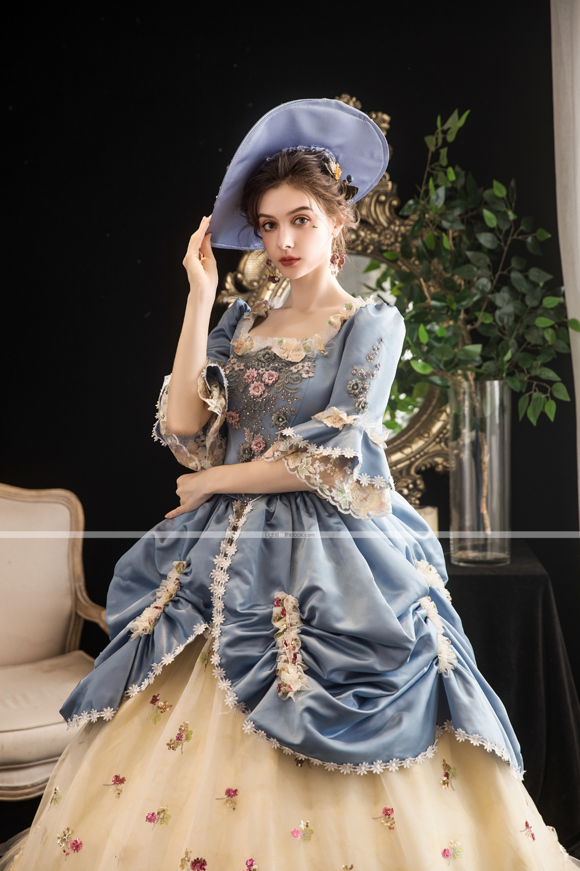 Maria Antonietta Rococo Baroque Victorian Vacation Dress Dress Party Costume Masquerade Prom Dress Women S Tulle Satin Costume Lightblue Vintage Cosplay Party H Costumes For Women Masquerade Prom Party Dress [ 1500 x 1000 Pixel ]