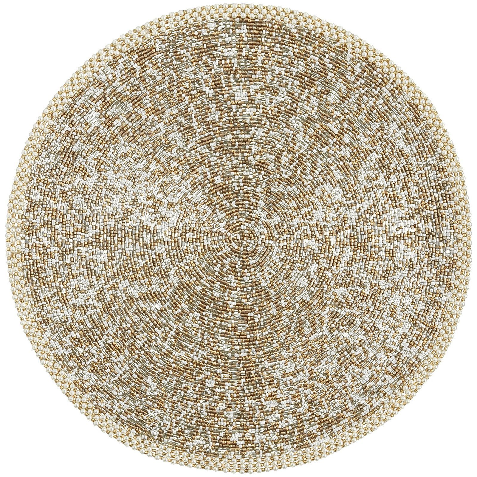 Beaded Gold Ivory Placemat Placemats Placemats For Round Table Linen Placemats