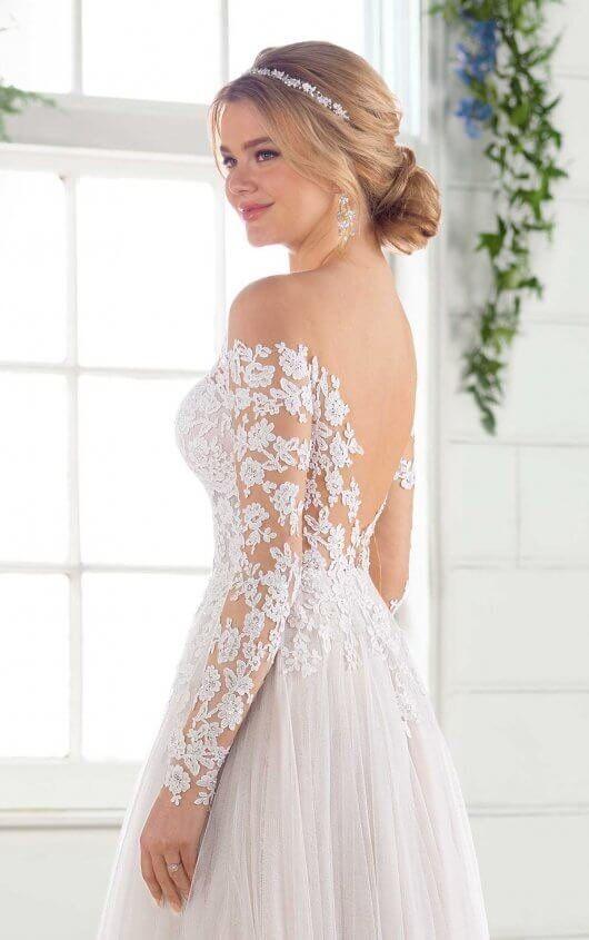 A-Line Wedding Dress with Sleeves   Essense of Australia Wedding Dresses   Discontinued