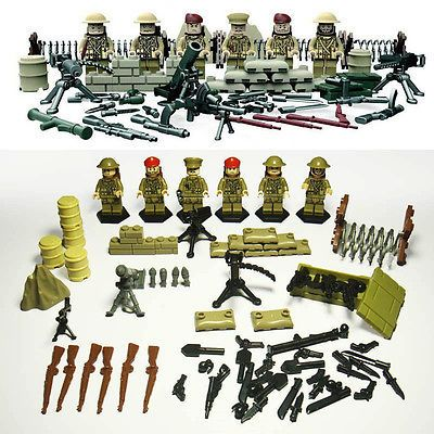 6pcs minifigures compatible with lego military weapons ww ii british 8th army