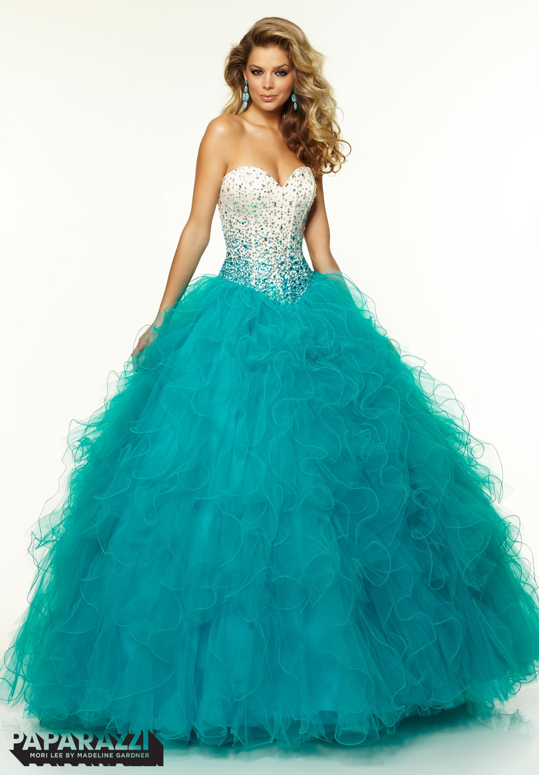 e39ac5cf7a9 97086 Prom Dresses   Gowns Satin Ombre Beaded Bodice with Ruffled Tulle  Ballgown Skirt Teal