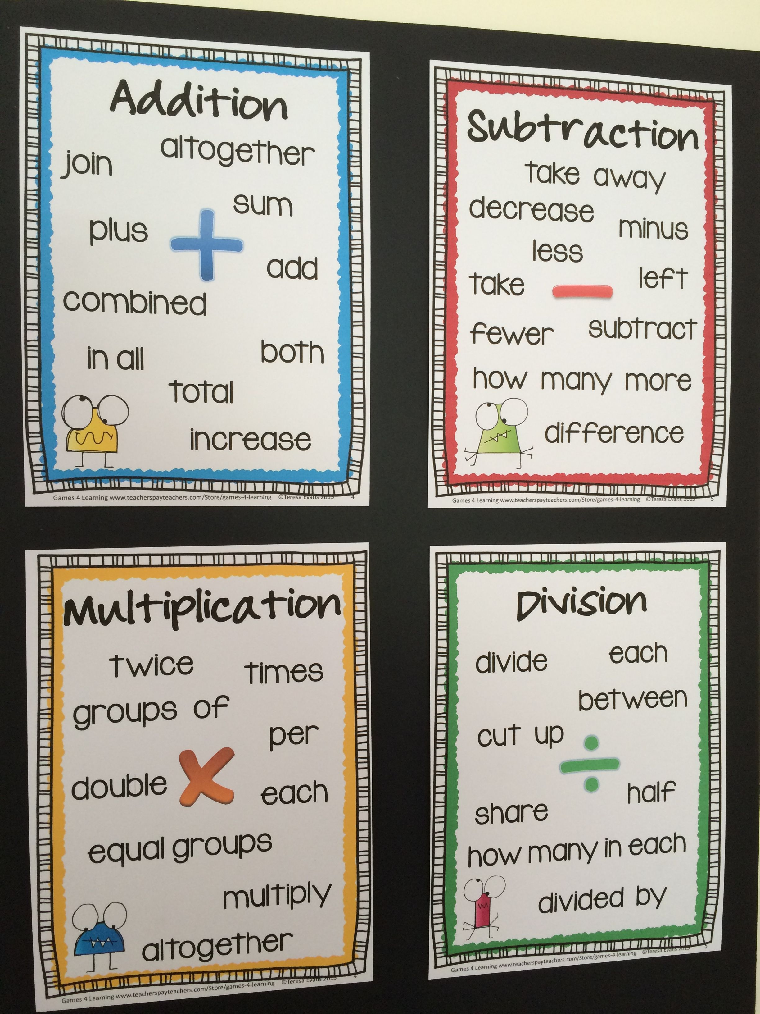 FREEBIES Posters for Addition Subtraction Multiplication