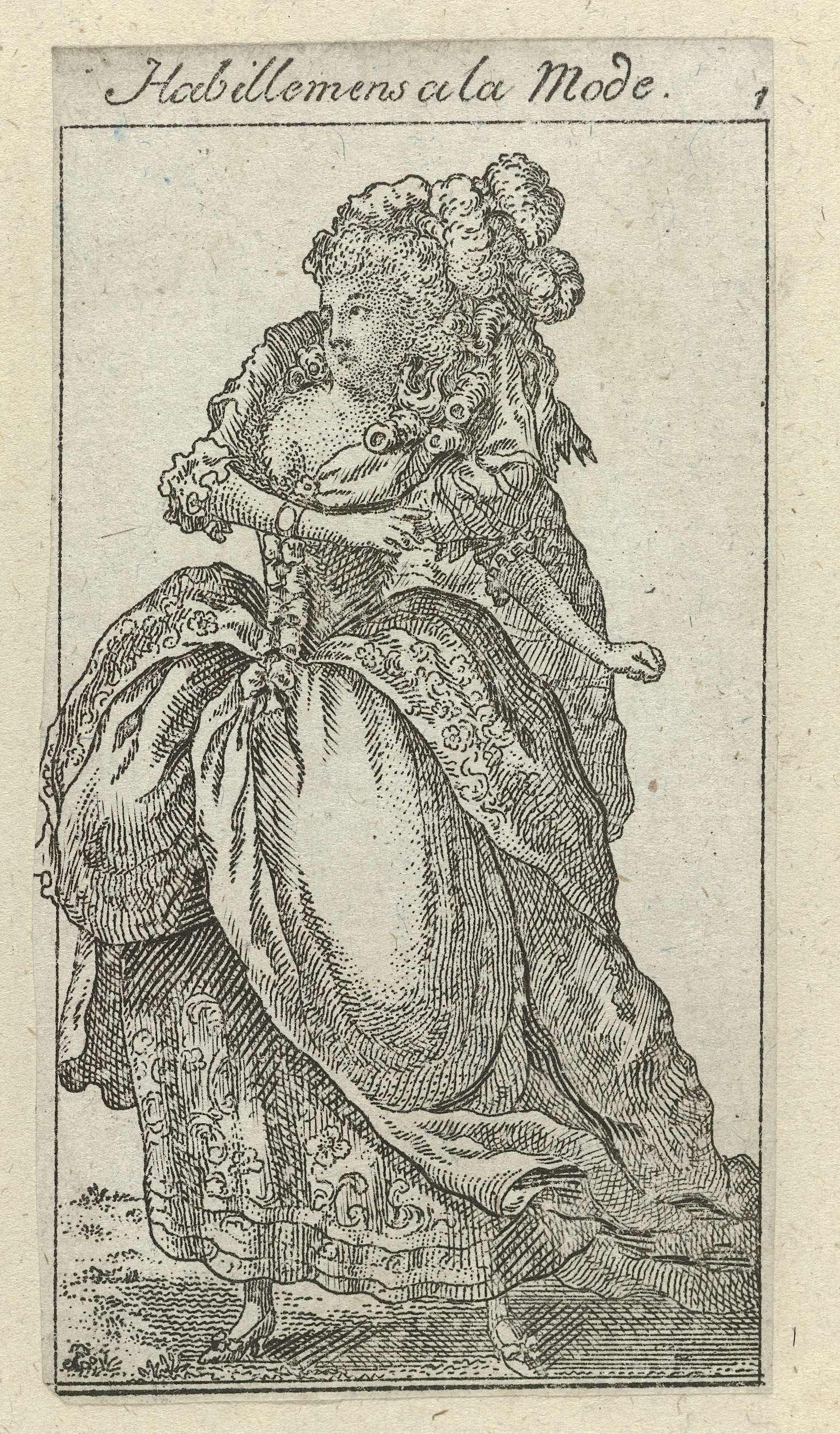 Anonymous   Almanakprentje uit Habillemens a la Mode. 1784-1785, No. 1, Anonymous, 1784 - 1785   Staande vrouw gekleed in een japon met sleep en bloempatroon op een bijpassende rok afgezet met twee banden. Het gekrulde haar is versierd met veren. Accessoires: armband, schoenen met hakken en strikken. De prent maakt deel uit van de almanak Habillemens a la Mode, 1784-1785.