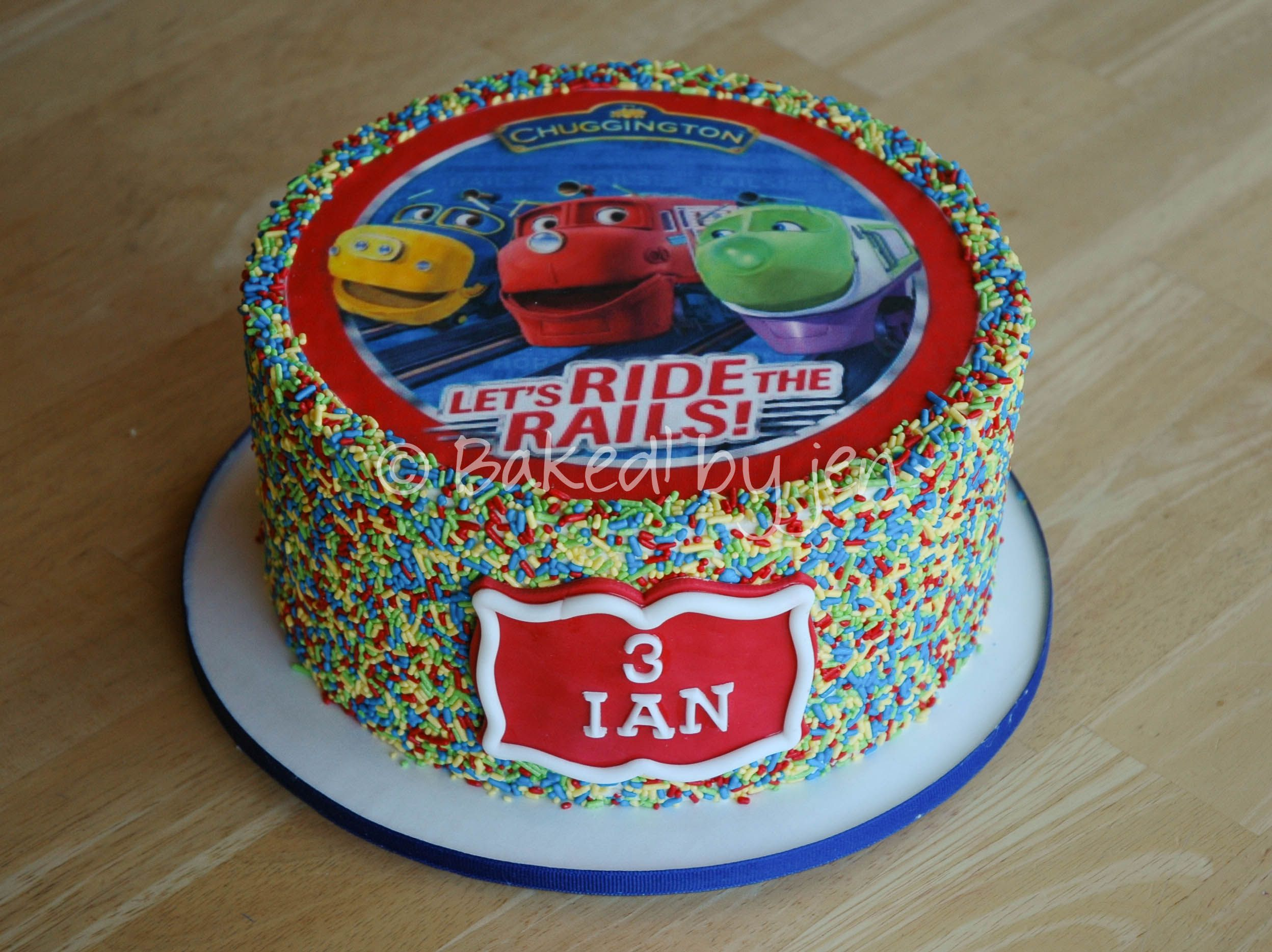 Sprinkles Chuggington birthday cake Baked by jen 2014