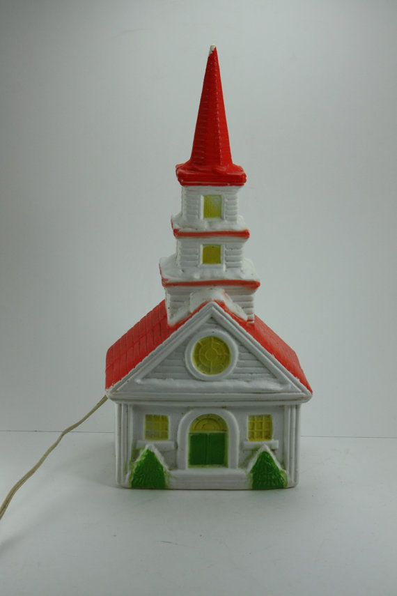 Vintage Christmas Blow Mold Blowmold Light Up Country Church