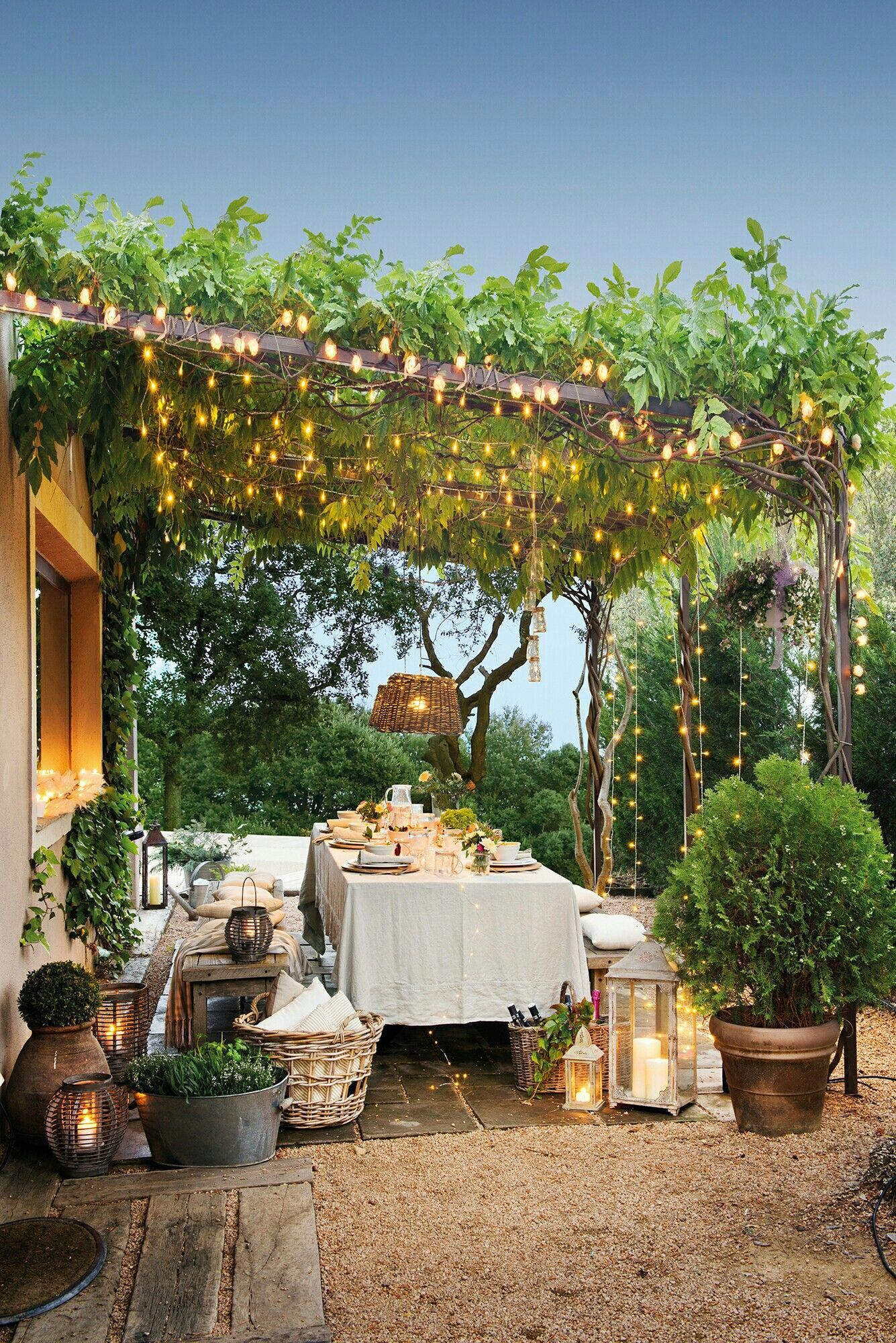 outdoor dining area under a vine covered pergola with wooden table rh pinterest com