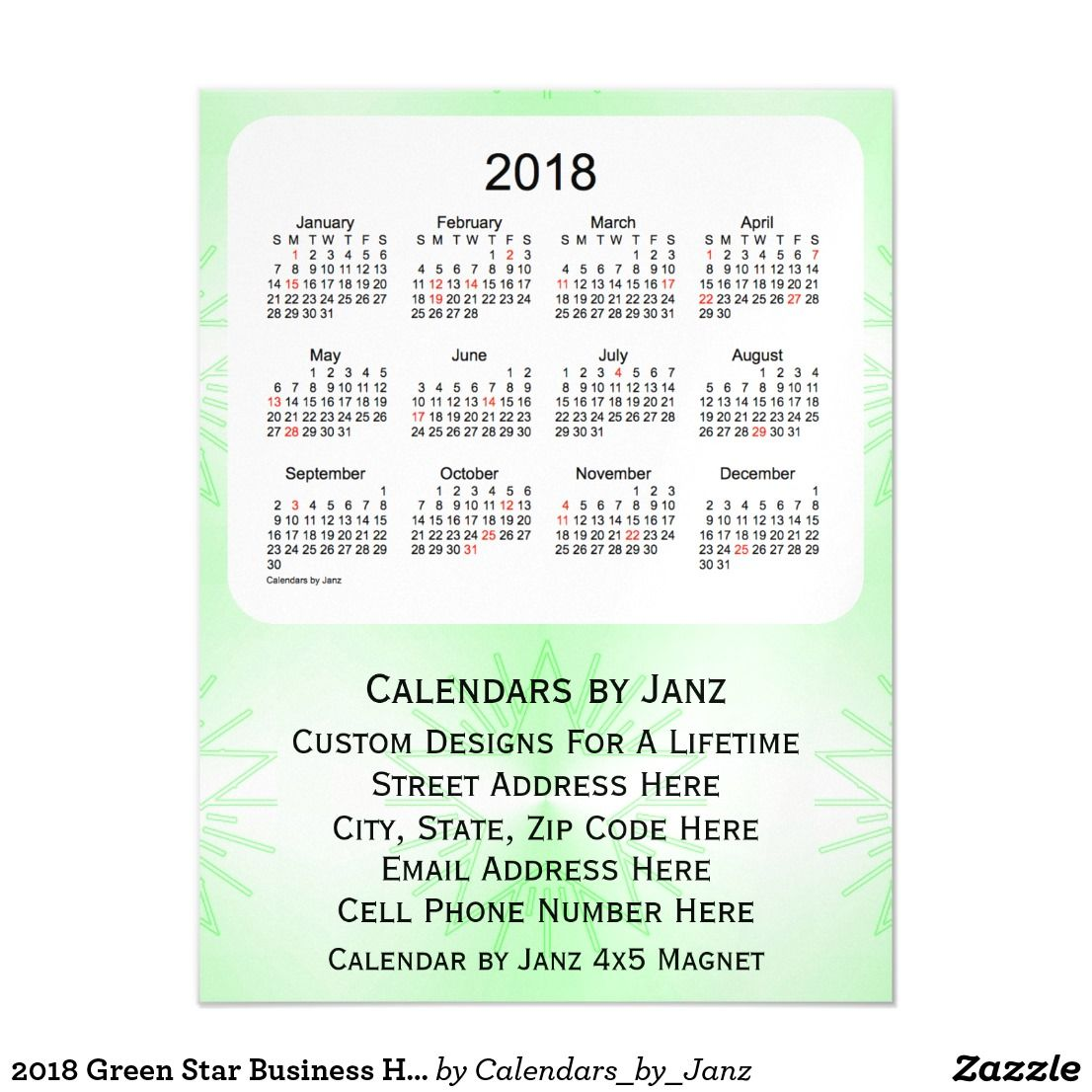 2018 Green Star Business Holiday Calendar by Janz Magnetic Card ...