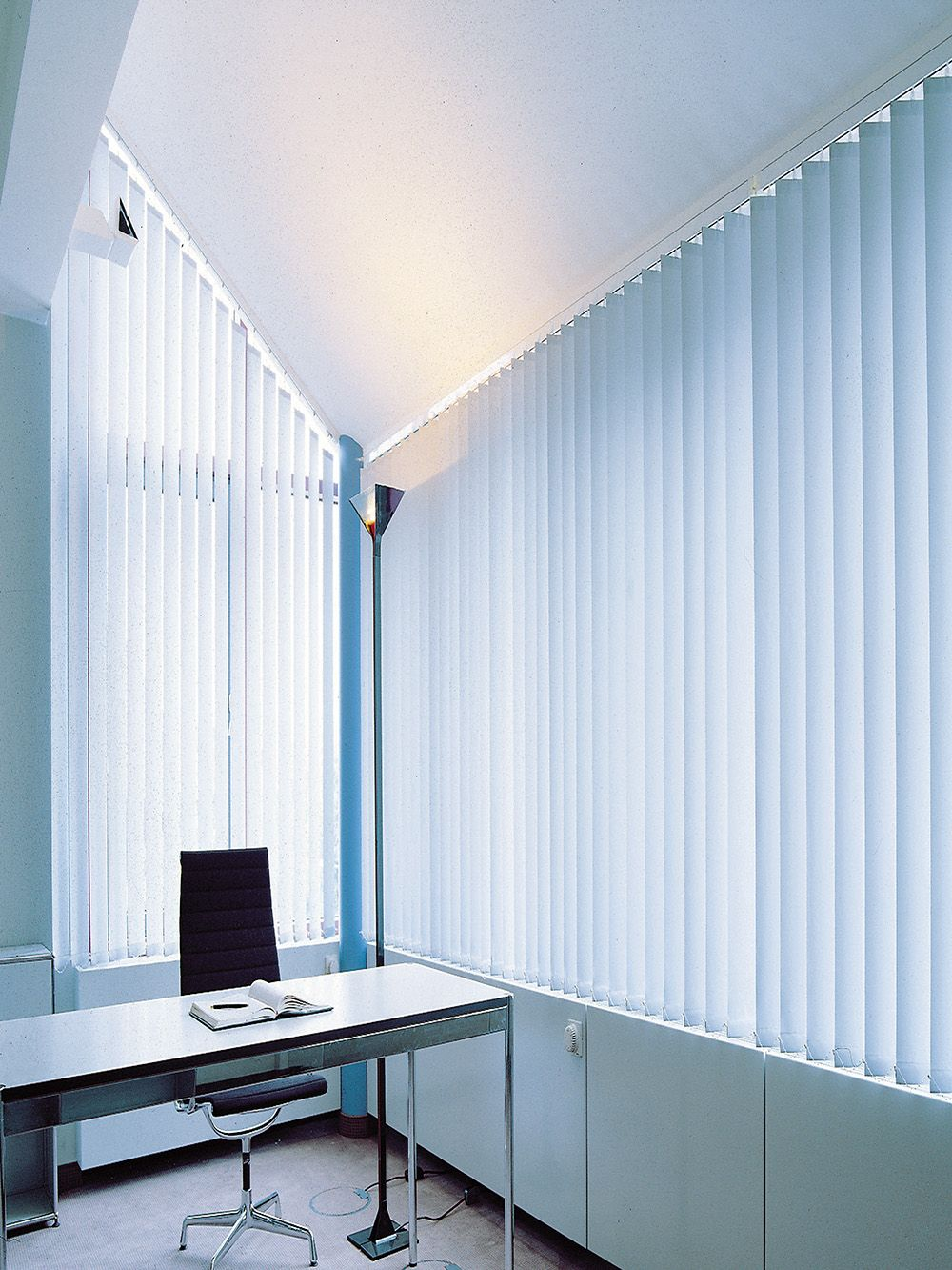 Workspace Idea Filled Narrow Desk Also Cool Vertical Blind Feat Unique  Torchiere Floor Lamp