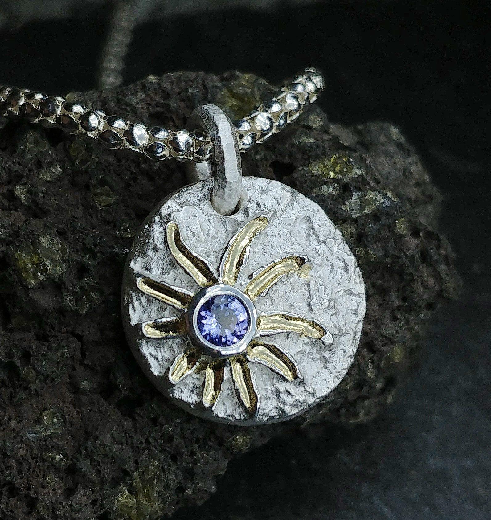 Tansanit Sonne Silber 960 Gold 750 Inklusive Kette Silber