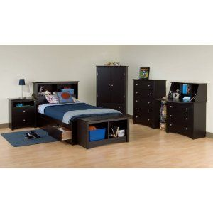 Kids Bedroom Furniture Set 1 In Black Sonoma Collection Prepac