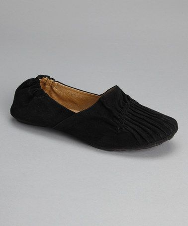 Take a look at this Black Suede Pleated Cam2 Flat by Chocolat Blu on #zulily today!  Buttery soft leather uppers, room for toes to spread out. $59.99