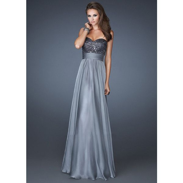 Chiffon Beaded Strapless Ruched Platinum Long Prom Dresses-MIYA... via  Polyvore