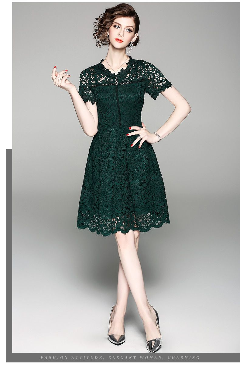 2018 New Summer Style Designer Dress Women High Quality Fashion Elegant  Short Sleeve Hollow Out Green Lace Dress Party Dresses free shipping  worldwide ebb2c8813d05