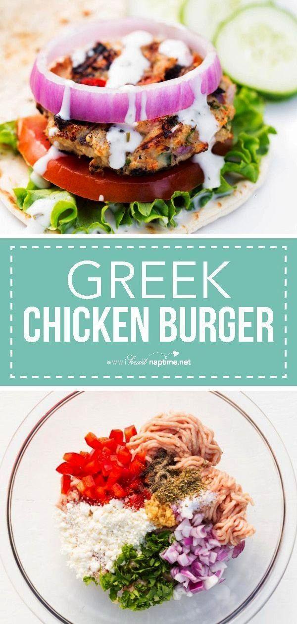 Chicken Burger -  Greek-Style Chicken Burger… a chicken burger stuffed with feta cheese, red pepp