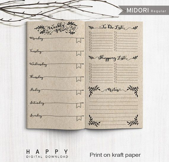 Printable Travelers Notebook Weekly Planner PDF file DOWNLOAD - notebook paper download