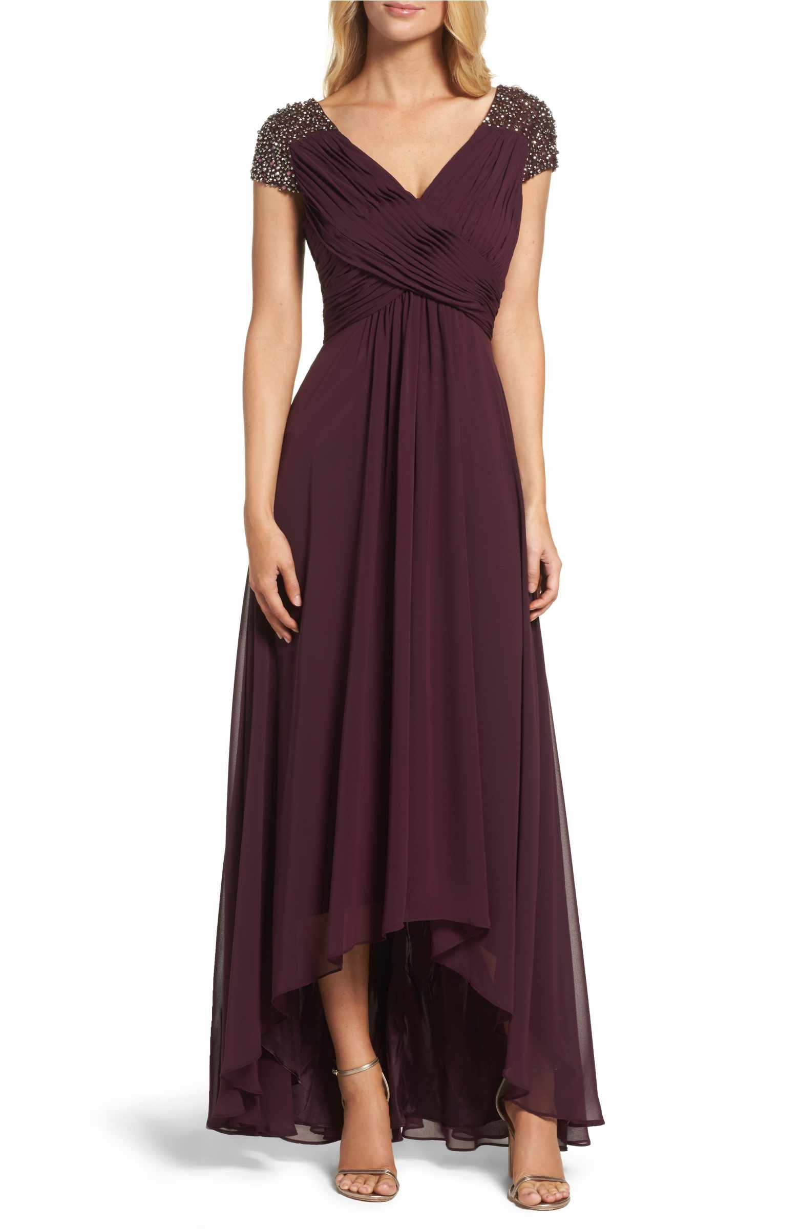 Main image eliza j embellished pleated chiffon gown wedding