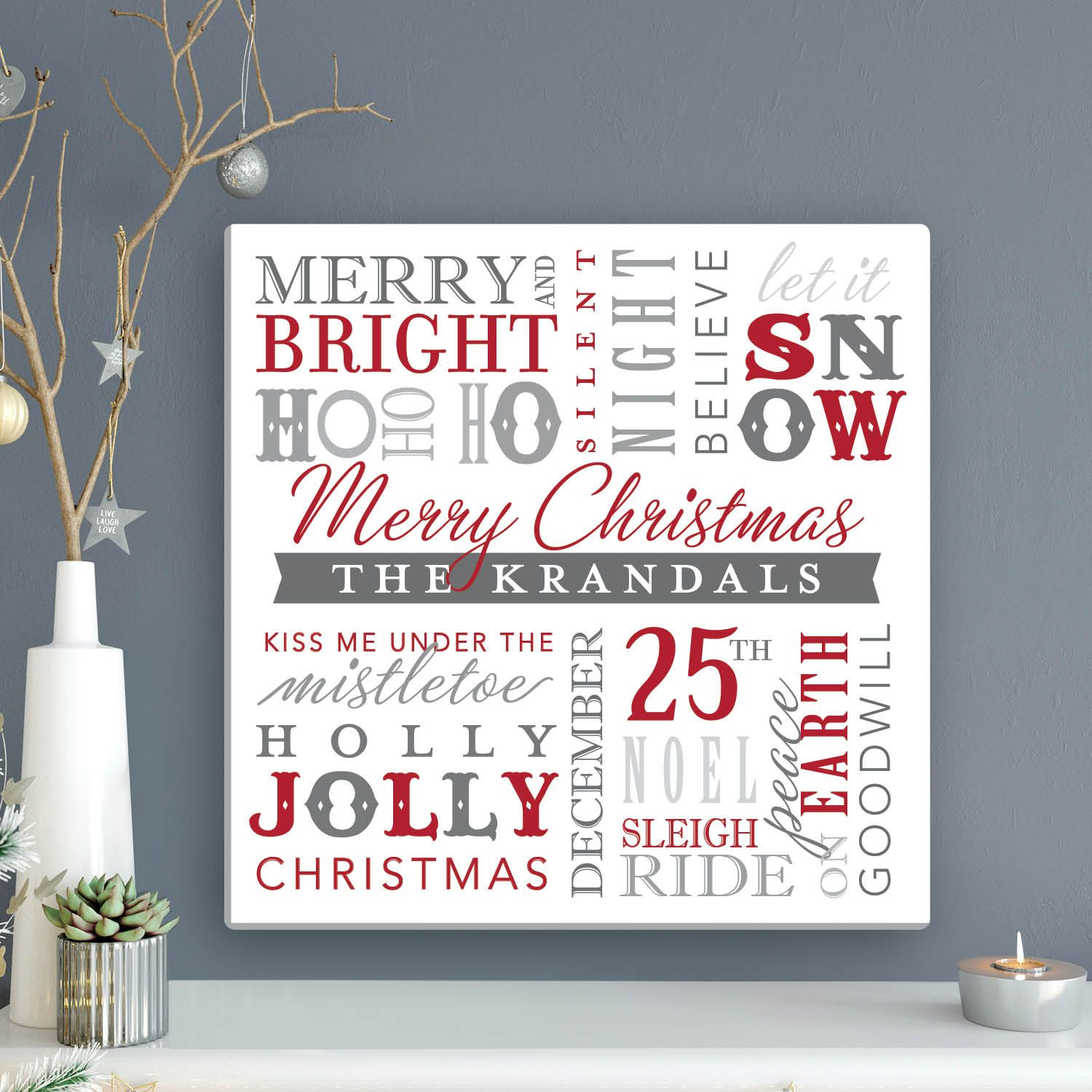 Christmas Words Personalized 12x12 Canvas Personalized Planet Christmas Wall Hangings Christmas Words Christmas Canvas Art