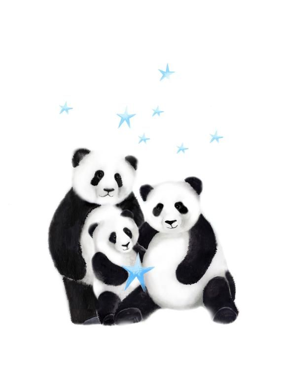 Panda Nursery Art, Gender Neutral Baby, Panda Bear, Panda Family, Painting, Baby Wall Decor, Childrens Artwork, Baby Animal, Stars, Set of 3