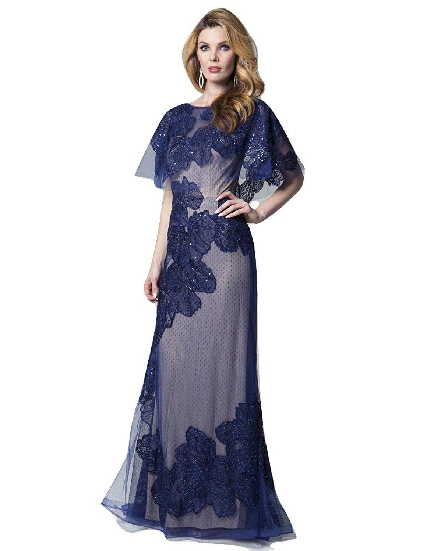 Lara womenus three quarter cape column dress with beaded lace
