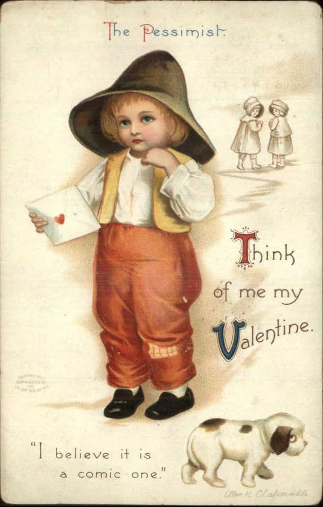 Valentine - Little Boy w/ Letter ELLEN CLAPSADDLE #1828 c1910 Postcard