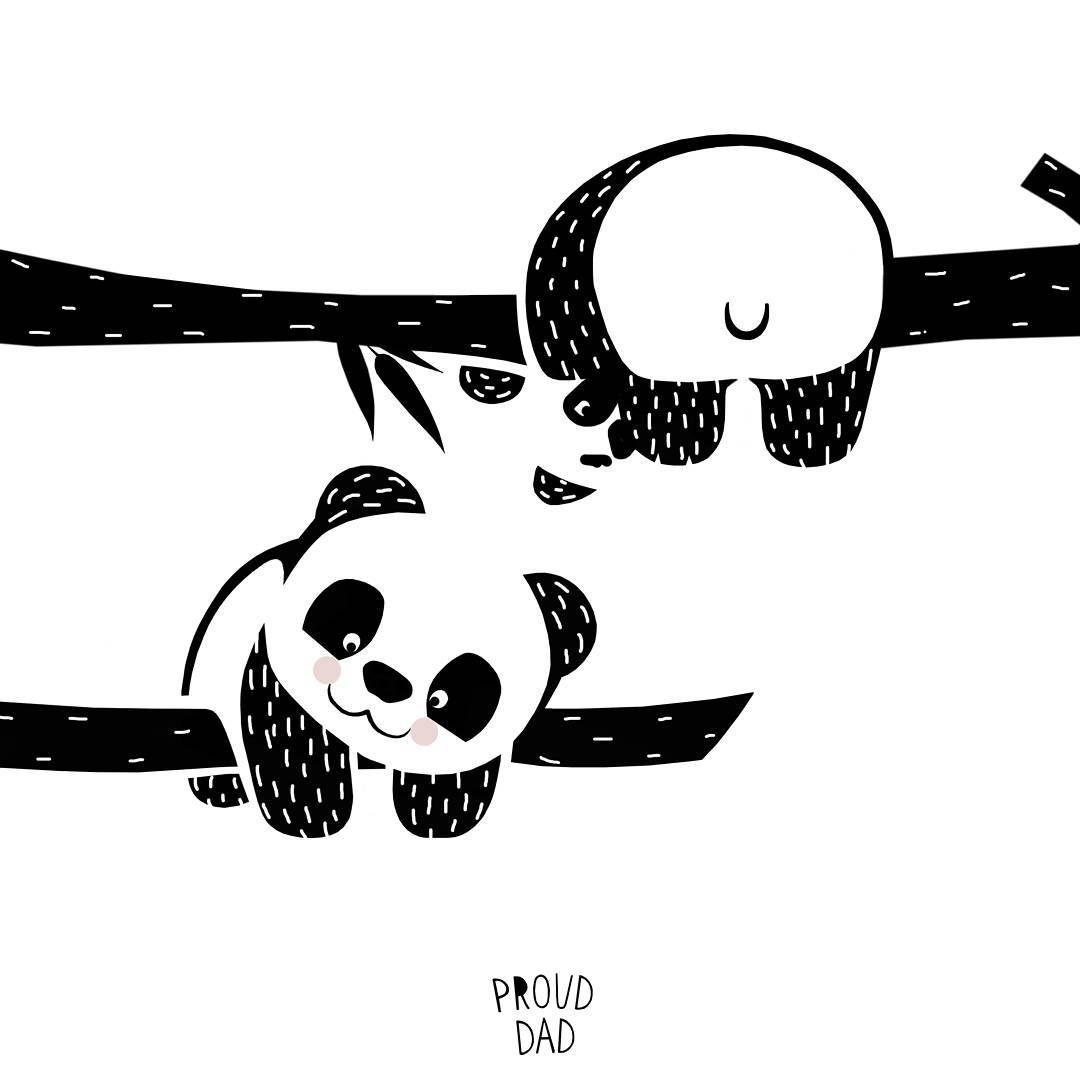 Hang In There Cute Panda Bear Children Illustration Black And