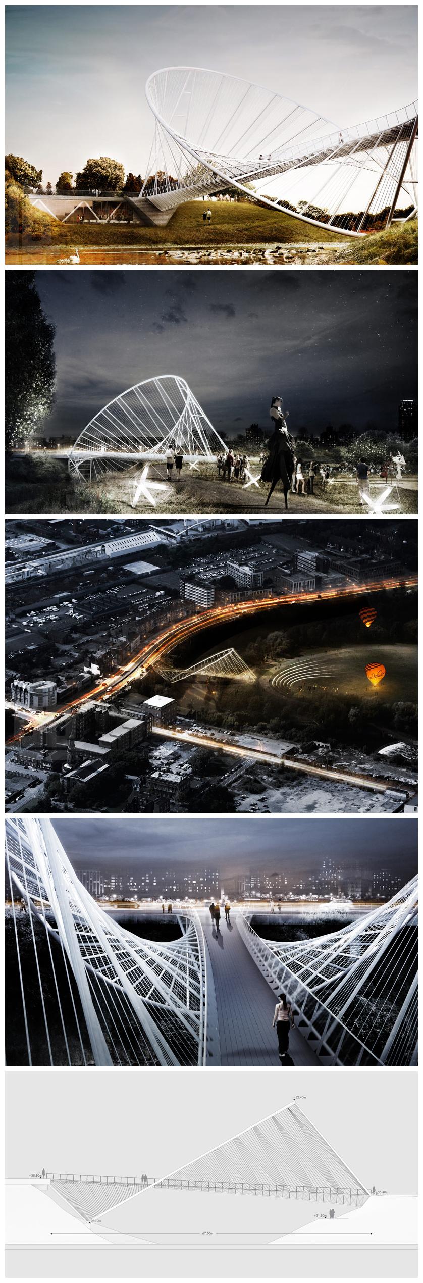 meadows salford elliptical bridge + landmark proposal by penda