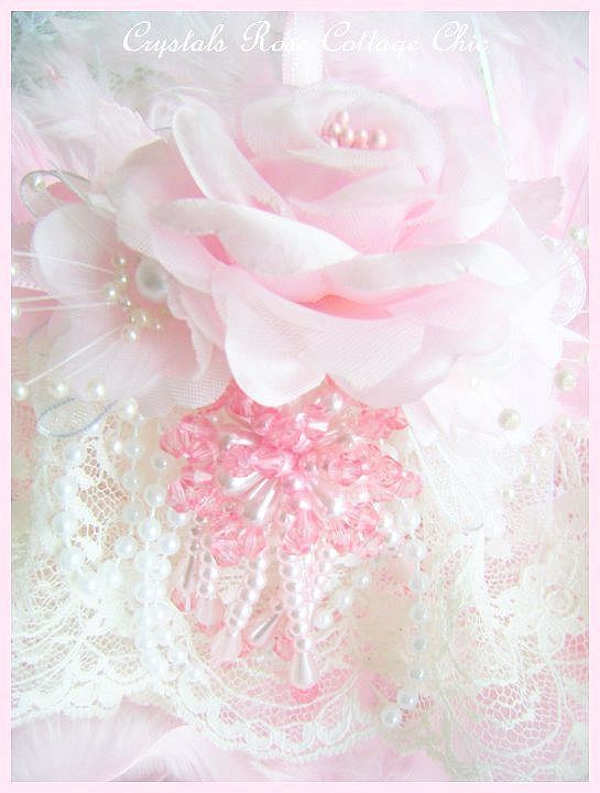 Ivory and Shabby Pink Bliss Ornament
