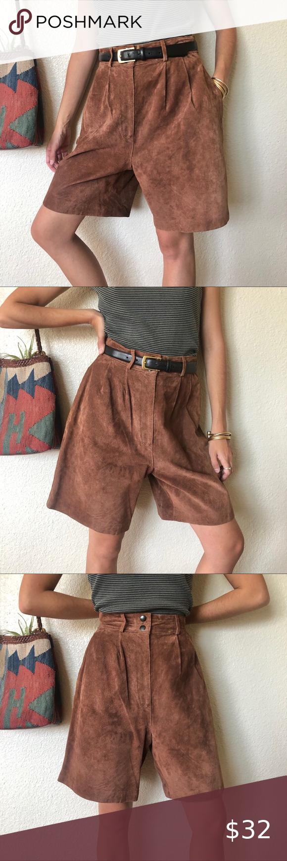 Vintage 80/'s High Waist Brown Shorts