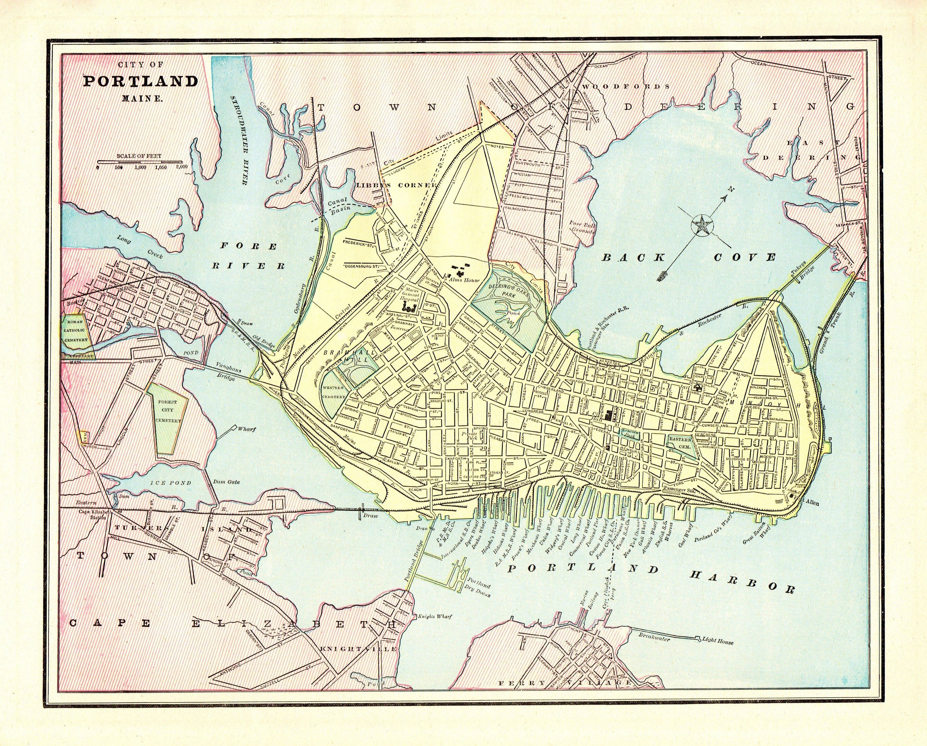 map of portland maine and surrounding areas 1890 Antique Portland Street Map Reproduction Print Of Portland map of portland maine and surrounding areas
