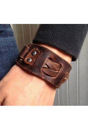 Antique Men s Brown Leather Cuff Bracelet 23c857a83b4