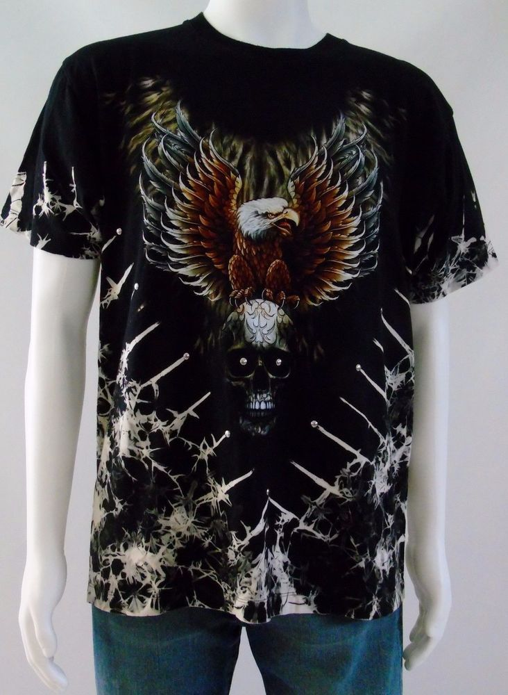 6c9596af3 Stud Skull Eagle Graphics Biker Rocker Tattoo Punk T-Shirt. 22