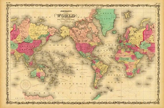 Vintage Old World Map Atlas Wall Art Canvas Giclee Print - Highest - new antique world map images
