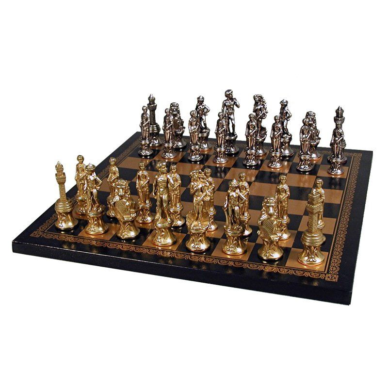 251.96 Florence Men Chess Set on Leather Board (con