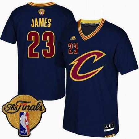 41134fa78 2016 NBA Finals Cleveland Cavaliers  23 LeBron James Navy Blue Short Sleeved  Jersey