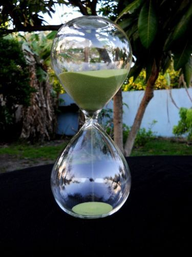 """Sand Timer Hour Glass Home Decor Modern Olive 11"""" Tall 7"""" Wide Half Past Hr"""