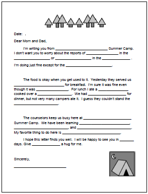 picture regarding Printable Fill in the Blank Camp Letters named Pin upon Great of 5th Quality