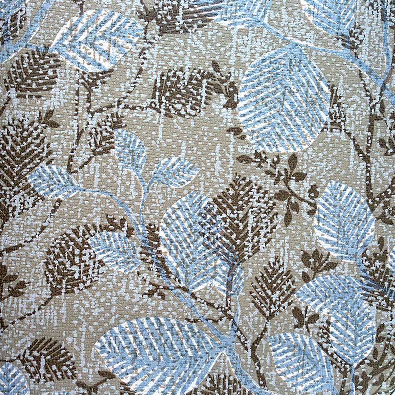 Textile Strukturen sind Anfang der 1980er Jahre angesagt. Beige in Kombination mit Blau ist up to date. Tapete aus der Vivi Bach Kollektion by Erismann.