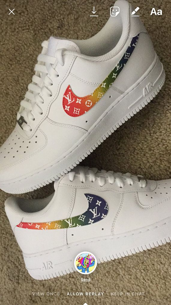 181a3bb011c7 Custom Nike Air Force 1 - Rainbow LV Monogram Print Nike Shoes Outfits